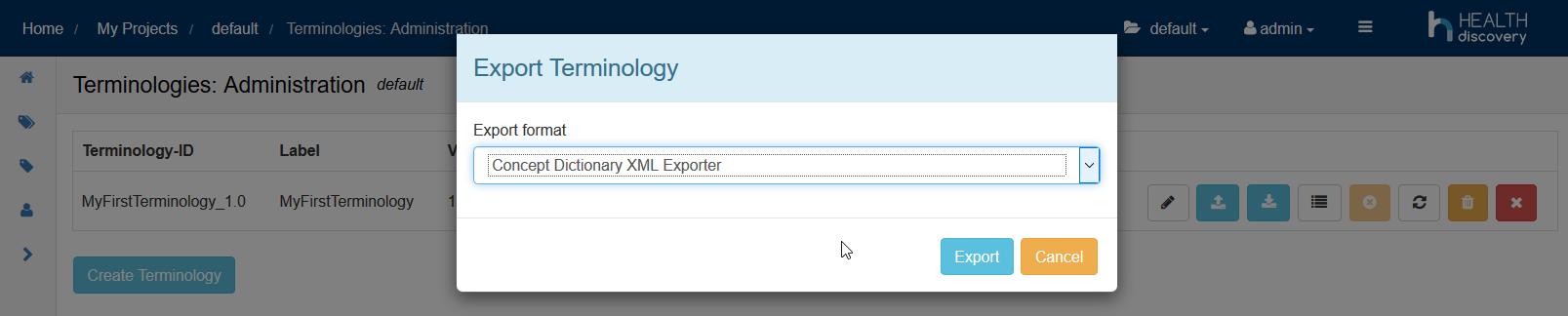 export terminology